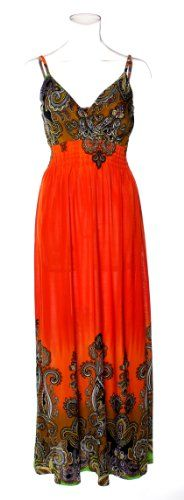 72920R-Orange-3X PLUS SIZE Maxi Dress / Coverup in Silky 'ITY' Fabric with Engineered Royal Paisley Print in Orange Size: 3X