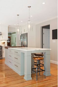 """The paint color used on the kitchen island and walls is """"Benjamin Moore Fieldstone"""".Modern Farmhouse Kitchen Design"""