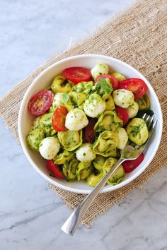 Pesto Tortellini Salad with Fresh Mozzarella & Grape Tomatoes Try with spinach pesto!