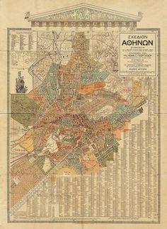 Vintage Map - Athens, Greece – 1923