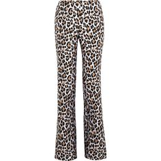 Michael Kors Collection Leopard-print jacquard wide-leg pants ($423) ❤ liked on Polyvore featuring pants, leopard print, highwaisted pants, michael kors, high rise black pants, high waisted wide leg pants and high waisted trousers