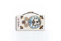 Tarot pouch in off-white lambskin embroidered with the magician card -  Dior