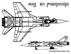 15 mig 31 foxhound airplane at coloring pages