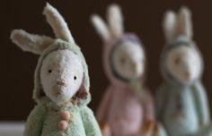 Made To Order - Easter Pocket White Mohair Bunny Sasha - Stuffed Rabbit - Soft Toy Bunny - Stuffed Animal - Artist Teddy Bears