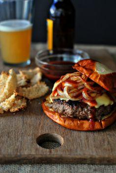 Griddled Steak Burgers with Jarlsberg + Sautéed Onions l www.SimplyScratch.com #burger #recipe