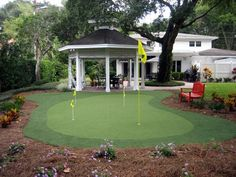 The DIY Backyard putting greens provide the look and feel of a true outdoor practice golf green all in an easy to install do-it-yourself package. Home Putting Green, Outdoor Putting Green, Gazebo, Pergola, Paint Colors For Living Room, Room Paint, Indoor Outdoor, Outdoor Decor, Outdoor Spaces