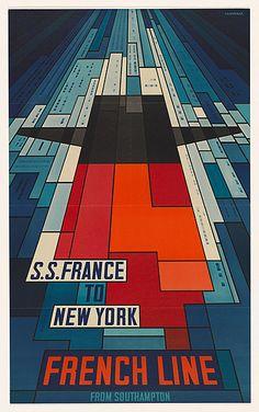 """S.S. France """" French Line """" - John BAINBRIDGE, 1968"""