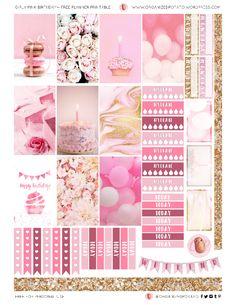Freebie Friday: Girly Pink Birthday Free Printable for Happy Planner Classic. #planner #plannerprintable #pink #pastelpink #pinkglitter #glitter #gold #birthday #pinkbirthday #happybirthday #freeprintable #printable #organizedpotato #cake #birthdaycake #mambi #erincondren #plannerideas #DIY #crafts #scrapbooking #papercraft #freebiefriday