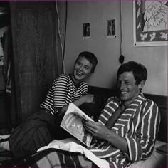 "Jean Seberg and Jean-Paul Belmondo on the set of ""A Bout De Souffle"""