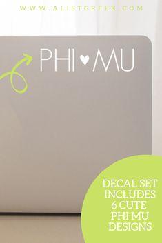 The perfect Phi Mu laptop decal from www.alistgreek.com! #sororitysticker #greekletters #sororityletters #cardecal #laptopsticker #statesticker #sticker #decal #phimu #phimusticker #phimudecal #biddaygifts