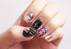 DIY Glam Rock Nail Art Tutorial from Small Good Things here. *If there are any styles or designs you'd like Emi to try, she welcomes your suggestions over at her blog.  Source: small-good-things.com  #diy #crafts