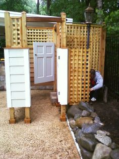 outdoor showers | this outdoor pool shower with changing room is located in middletown ...