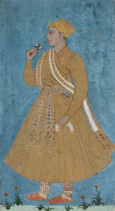 Young noble standing, turned to the left, holding a spray of roses in his right hand, and dressed in gold brocade  Maker: Unknown; miniaturist  Category: miniature (painting)  School/Style: Deccani  Period: mid 18th Century  Technique: watercolour