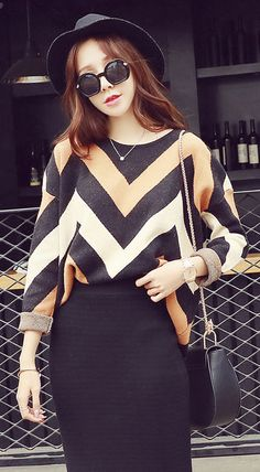Fashiontroy Street style long sleeves crew neck multi-color striped color-block sweater