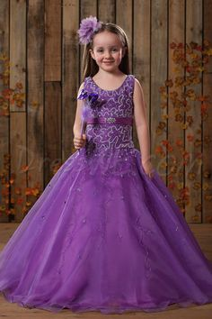 Dresswe.com SUPPLIES Beautiful Ball Gown Scoop Floor-length Beaded Flower Girl Dress Flower Girl Dresses 2014