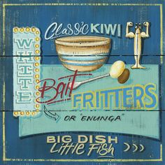 Big Dish, Little Fish - Classic Kiwi Whitebait fritters. Retro Caravan, Kiwiana, My Point Of View, Little Fish, Wall Art For Sale, Framed Prints, Art Prints, Fritters, Note Cards