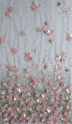 Haute couture fabric hand embroidered ribbon and sequin flowers on tule Tambour Beading, Tambour Embroidery, Couture Embroidery, Embroidery Dress, Ribbon Embroidery, Embroidery Fashion, Sequin Embroidery, Couture Beading, Motifs Perler