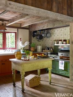 Richard Keith Langham's Rustic Country House.  <3 Colors: Tomato, lime and kiwi.  <3 open shelves & pot rack.