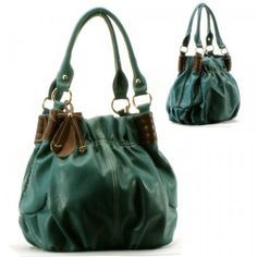 Ribbon Golden Hardware Purse and Bag / Handbag/ Teal Blue/