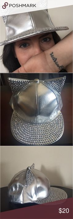 Silver Rhinestone CatEar Rhinestone Adjustable Cap Tried on once to model for someone that was interested but never worn. Cap is a fashion statement, features rhinestones and is an adjustable SnapBack. iBestest Online Boutique  Accessories Hats