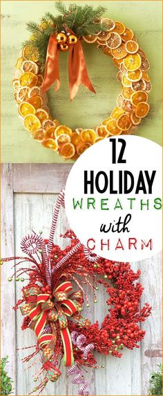 Christmas Wreaths and Porch Decor with Holiday Cheer. Classy Christmas door decor. Orange spice, holly berry and candy cane wreaths that will bring beauty to your porch.