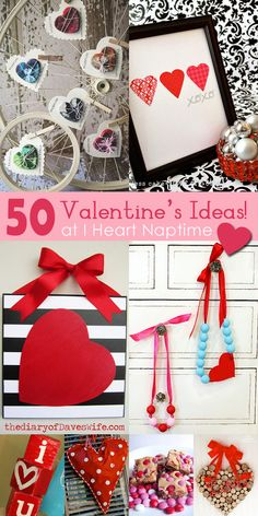 Crafts and Food Ideas! 50 AMAZING Valentine Crafts and Food Ideas on .so many great AMAZING Valentine Crafts and Food Ideas on .so many great ideas! My Funny Valentine, Valentine Day Love, Valentine Day Crafts, Valentine Decorations, Holiday Crafts, Valentine Ideas, Printable Valentine, Homemade Valentines, Valentine Wreath