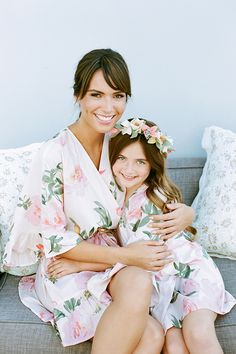 Matching kimono getting ready robes for bridesmaids and flower girls!
