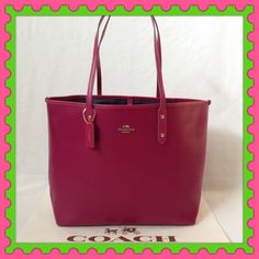 "Authentic Coach Leather Tote Bag  % AUTHENTIC ✨ Beautiful crossgrain leather tote bag from CoachLightweight & very spacious  Length 17"" Height approximately 12"" Width 6"" Strap drop 10"" Yellow  gold tone hardware  Color: Cranberry  Pocket inside✨ NO TRADE  PRICE FIRM  Coach Bags Totes"