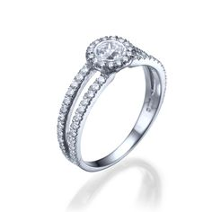 New to shireeodiz on Etsy: Halo Engagement Ring 950 Platinum Ring 0.54 TCW Diamond Ring Size 6.5 Clef Collection (750.00 USD)