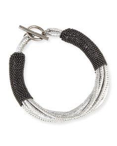 Metallic Leather Bracelet w/Monili Strands