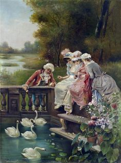 monsieurleprince:  Hans Zatzka (1859-1945) - Three young ladies and gentleman feeding swans in the park