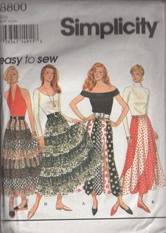 MOMSPatterns Vintage Sewing Patterns - Simplicity 8800 Retro 90's Sewing Pattern MUST HAVE Retro Bohemian Patchwork Tier Full Flared Broomstick Gypsy Skirt, Necktie Look Pointed Hem or Swirling Scallop Hem Gored Skirt Size XS-M