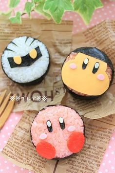 """Kirby sushi! This reminds me of a time when I drove past a sign that said """"We sell Kirby parts"""" and I looked at it thinking """"What did you do to Kirby?!"""""""