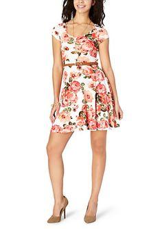 image of Belted Floral Skater Dress
