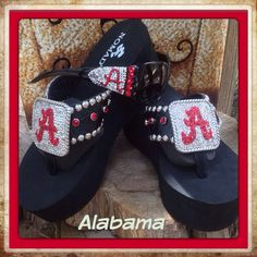 6bb46c38cac621 Roll Tide · Alabama Theme Flip Flops with Conchos and by  JujusJewelsFlipFlops
