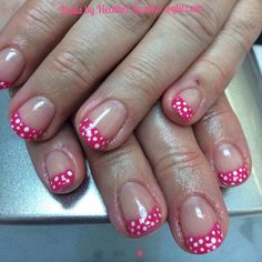 LCN's Recolution gel polish in Crazy pink and polka dots are made with a dotting tool and LCN's white acrykic paint