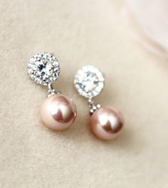 Pearl Wedding Bridal Jewelry Blush Pink Pearl Earrings Rose Pink Bridal Earrings round cubic zirconia sterling silver post earrings by DreamIslandJewellery on Etsy