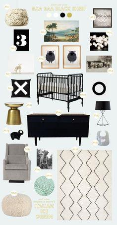We love this Baa Baa Black Sheep nursery that Joni Lay created for Style Spotters! See the full post here: http://www.bhg.com/blogs/better-homes-and-gardens-style-blog/2013/03/13/get-the-look-baa-baa-black-sheep/?socsrc=bhgpin031513blacksheep
