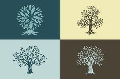 Vector oak trees isolated set by provector on @creativemarket