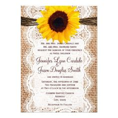 Rustic Burlap Country Farm Invitation Announcement Lace Twine Sunflower Wedding Invite   #sunflower #wedding #invitation #rustic #country
