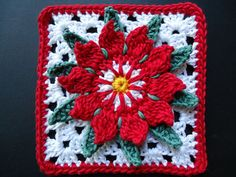 "granny flower Free crochet 12"" granny square pattern on Ravelry"