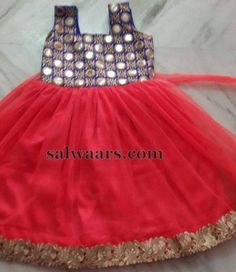 Mirror Work Simple Frock - Indian Dresses