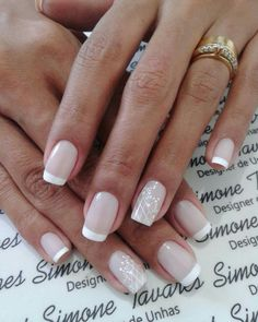 123 creative ways to wear pink and white nails – page 1 Fabulous Nails, Gorgeous Nails, Pretty Nails, Fun Nails, French Manicure Nails, French Tip Nails, Bride Nails, Wedding Nails, Nail Printer