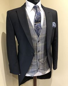 Wedding Suit Hire For Men & Tailoring – [pin_pinter_full_name] Wedding Suit Hire For Men & Tailoring Black morning suit with flannel check waistcoat & paisley tie Wedding Suit Hire, Vintage Wedding Suits, Black Suit Wedding, Wedding Men, Wedding Groom, Black Suit Groom, Tweed Wedding Suits, Workwear Fashion, Mens Fashion Suits