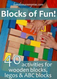 40 Kid Activities for wooden blocks, legos and ABC blocks