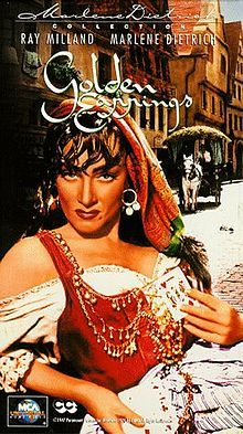"""Golden Earrings (1947) A story of a stiff-upper-lip British spy (Ray Milland) and a glamorous gypsy (Marlene Dietrich) in Hungary on the eve of World War II, it is a film """"universally despised by spoilsports and the humourless.""""   Strange but true: Golden Earrings was shot in the Columbia Gorge. Marlene Dietrich learned to play the zither for the part."""