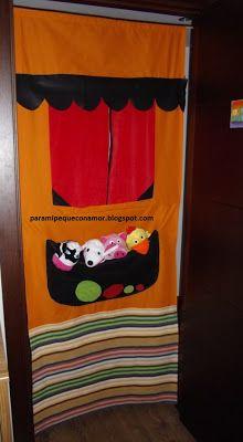 Para mi peque con amor: Un teatro de tela para la puerta. Paso a paso. Marionette, Puppet Show, Puppet Theatre, Sock Toys, Cute Crafts, 4 Kids, Diy Toys, Classroom Organization, Puppets