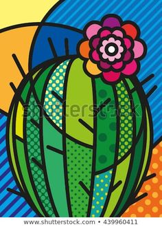 Pop Art Modern Vector Illustration Cactus for your design art garden indoor plants Illustration Cactus, Cactus Art, Cactus Plants, Cactus Decor, Cactus Painting, Cactus Clipart, Painted Flower Pots, Pop Art Design, Elementary Art