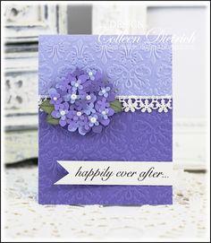 Punched hydrangeas, Hero Arts wedding sentiment on wedding card.