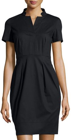 Lafayette 148 New York Notched-Collar Short-Sleeve Dress, Black  Was: 242.10$ Now: 169.47$